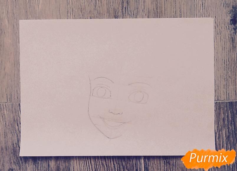 Рисуем портрет Ариэль цветными фломастерами - шаг 4