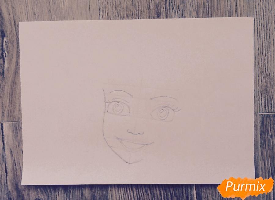 Рисуем портрет Ариэль цветными фломастерами - шаг 5