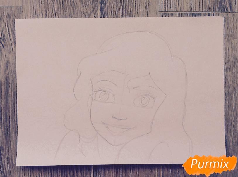Рисуем портрет Ариэль цветными фломастерами - шаг 6