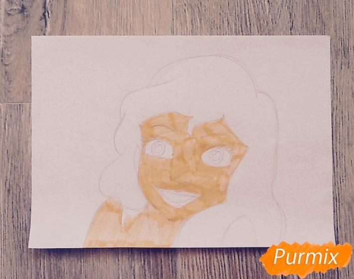 Рисуем портрет Ариэль цветными фломастерами - шаг 7