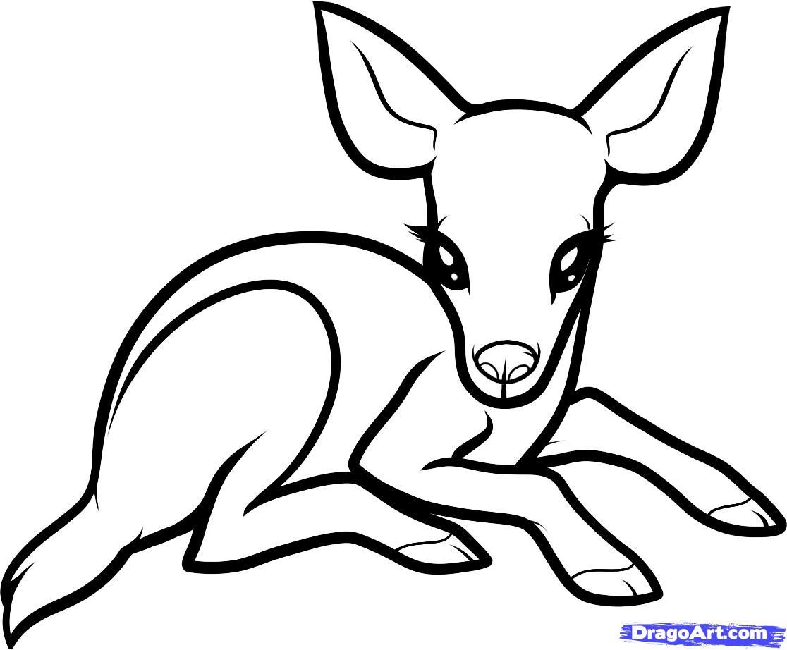 Как нарисовать олененка поэтапно