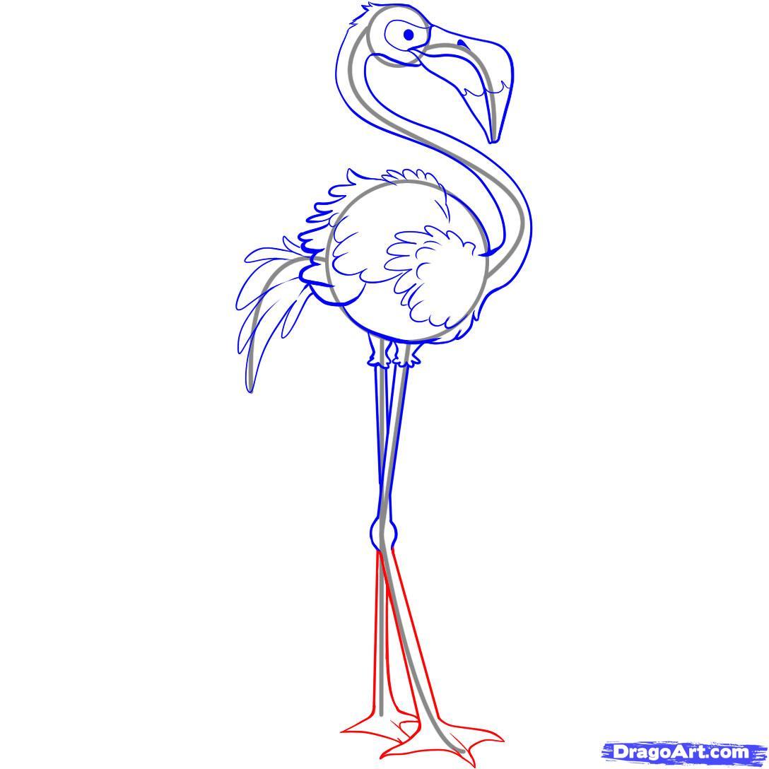 Рисуем Фламинго - шаг 5