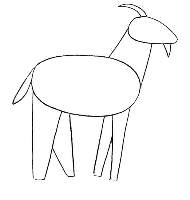Рисуем козу - шаг 1