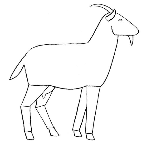 Рисуем козу - шаг 2