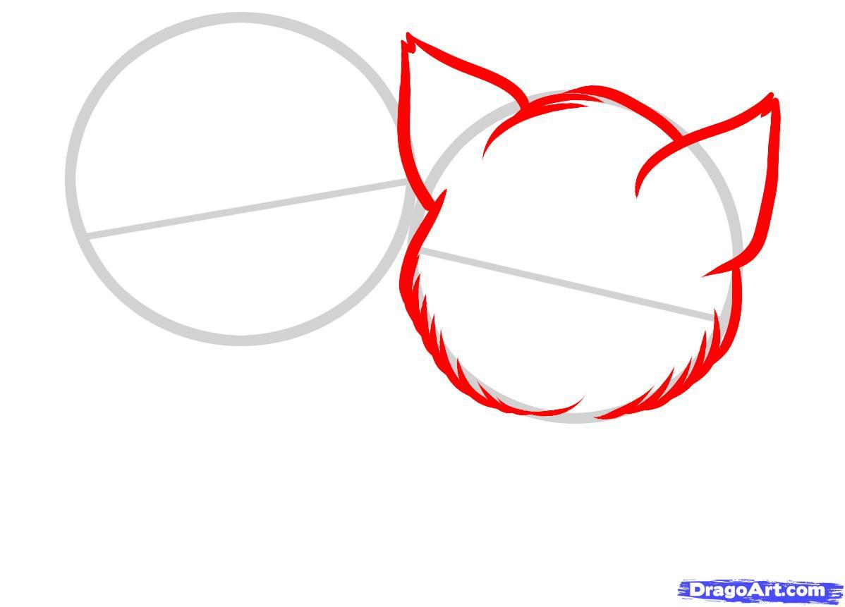 Рисуем двух котят - шаг 2