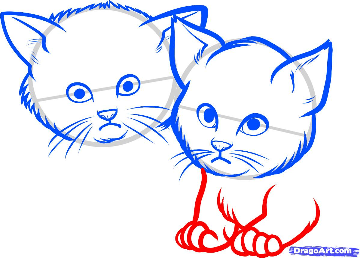 Рисуем двух котят - шаг 5