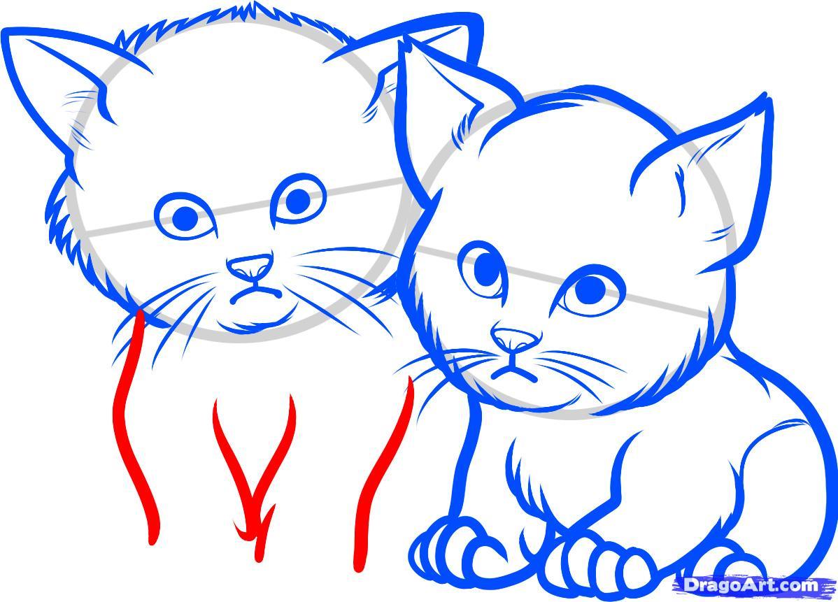 Рисуем двух котят - шаг 7