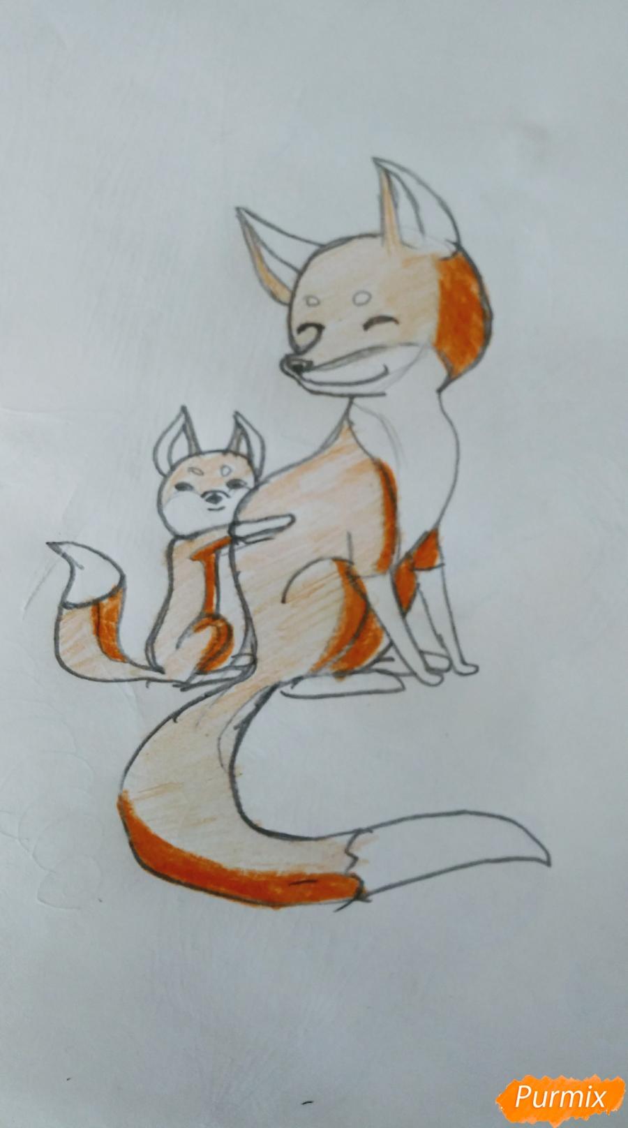 Как легко и просто нарисовать Маму лису с сыночком - шаг 4