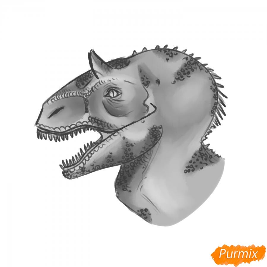 Как нарисовать голову динозавра карандашом поэтапно