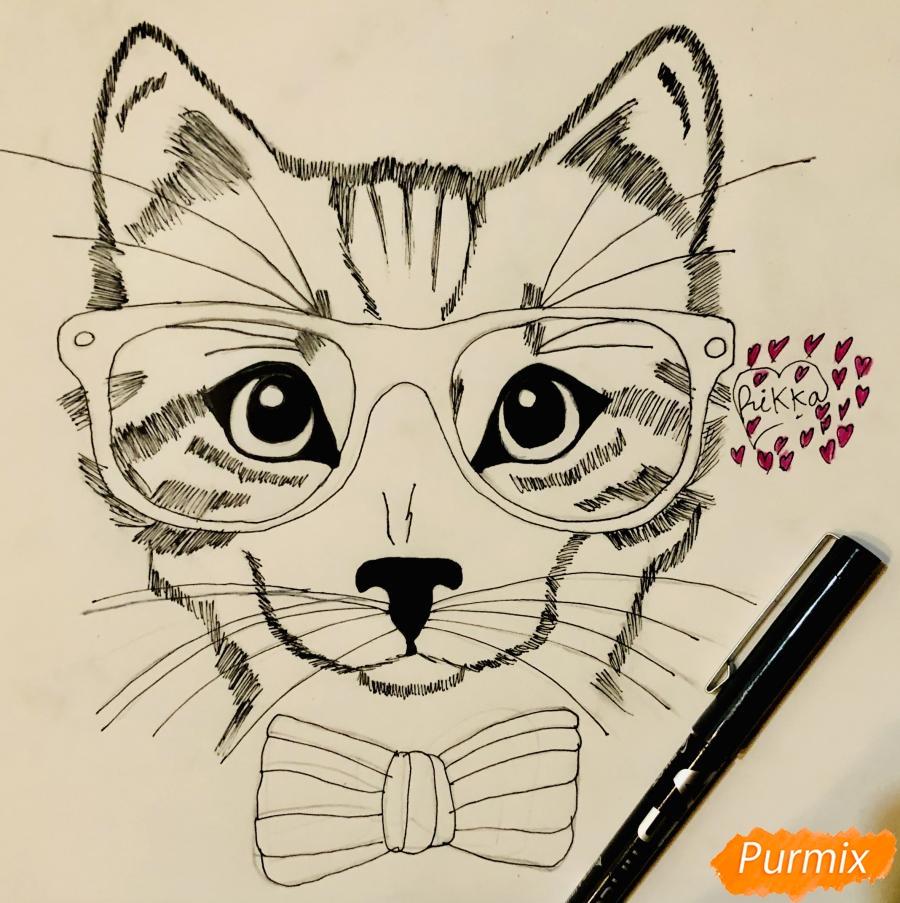 Рисуем портрет кошки в красных очках и с бантом - фото 6