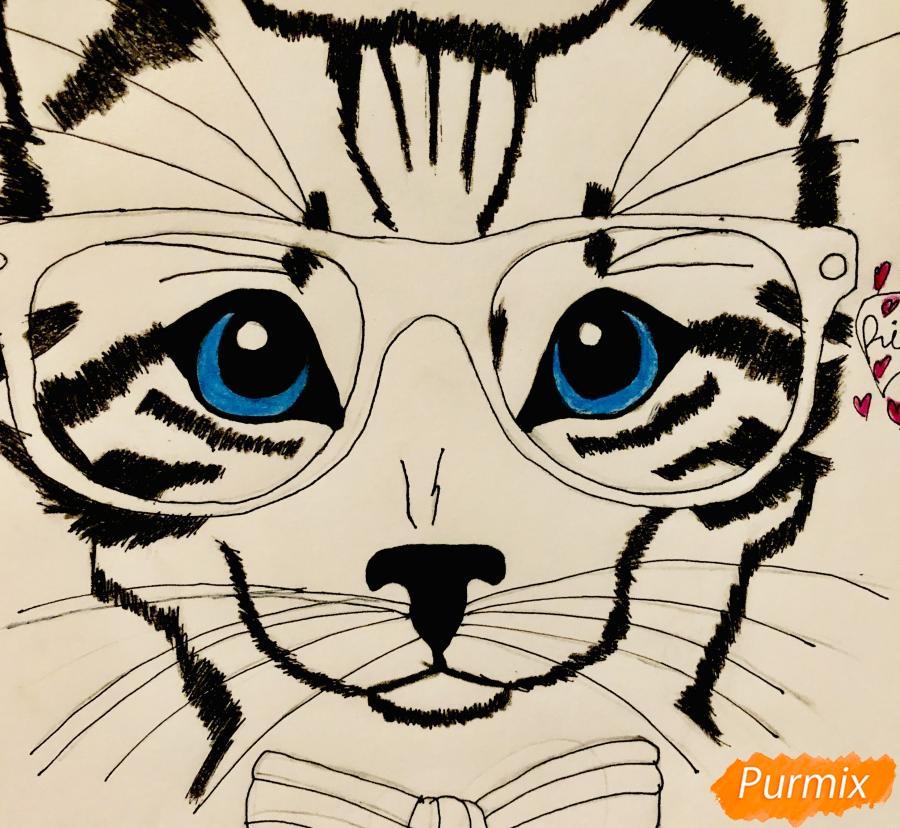 Рисуем портрет кошки в красных очках и с бантом - фото 8
