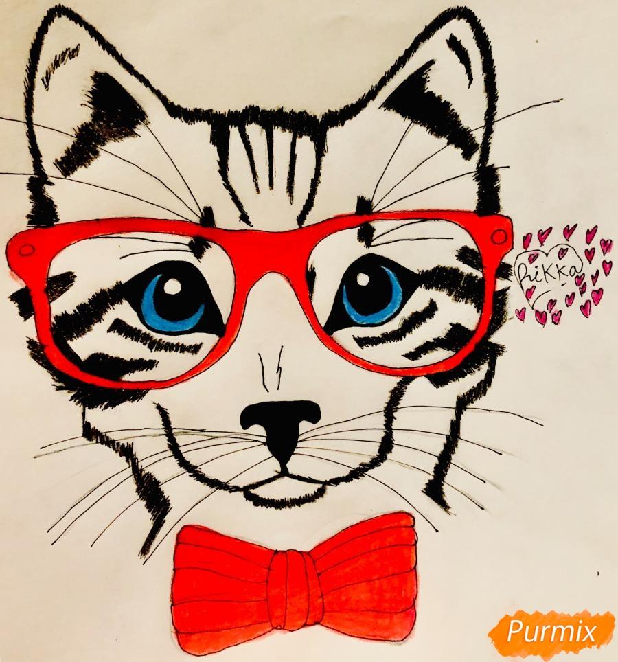 Рисуем портрет кошки в красных очках и с бантом - фото 9