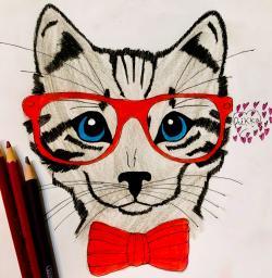 Рисунок портрет кошки в красных очках и с бантом