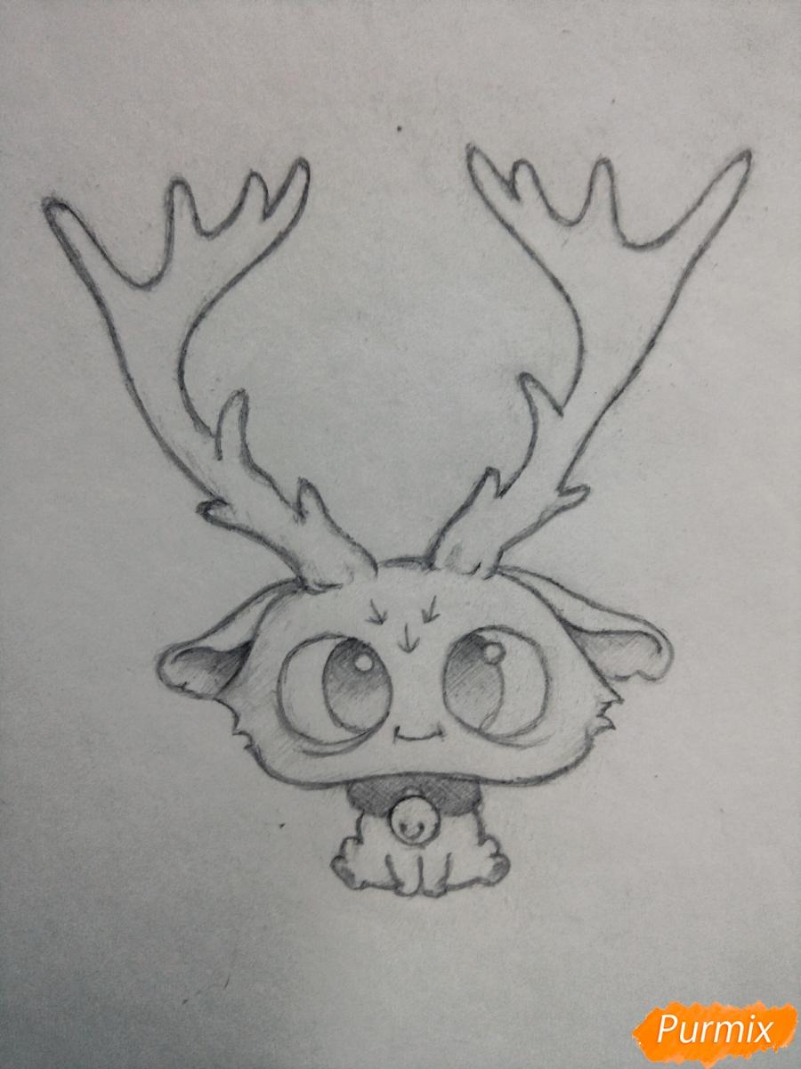 Рисуем милого чиби олененка карандашами - шаг 7