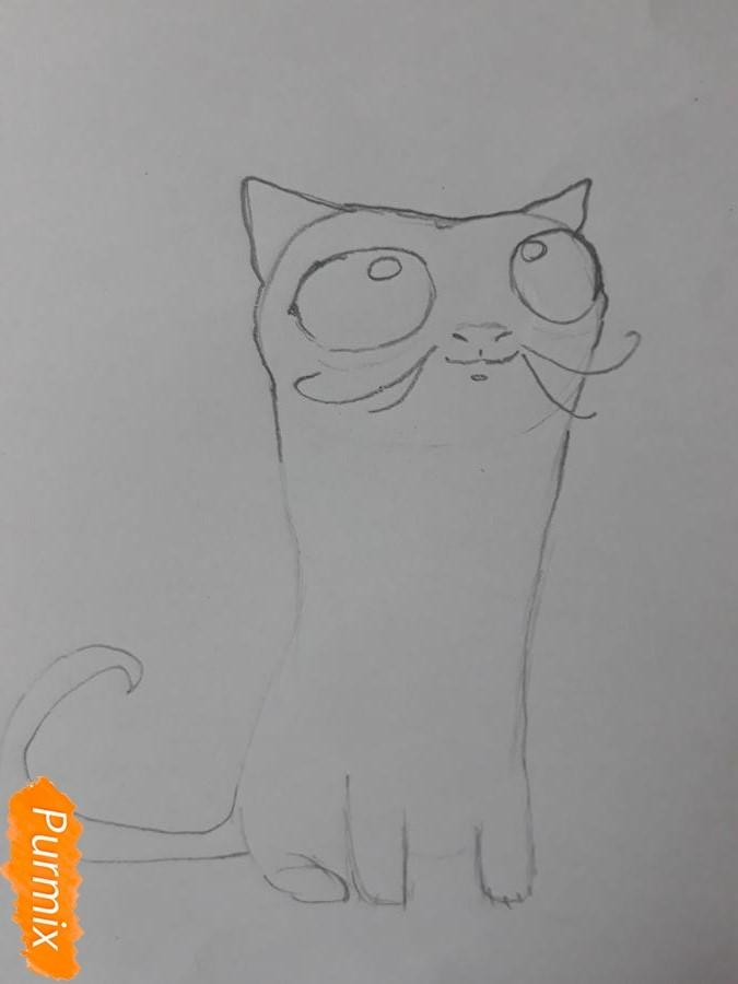Рисуем мультяшного кота карандашами - фото 4