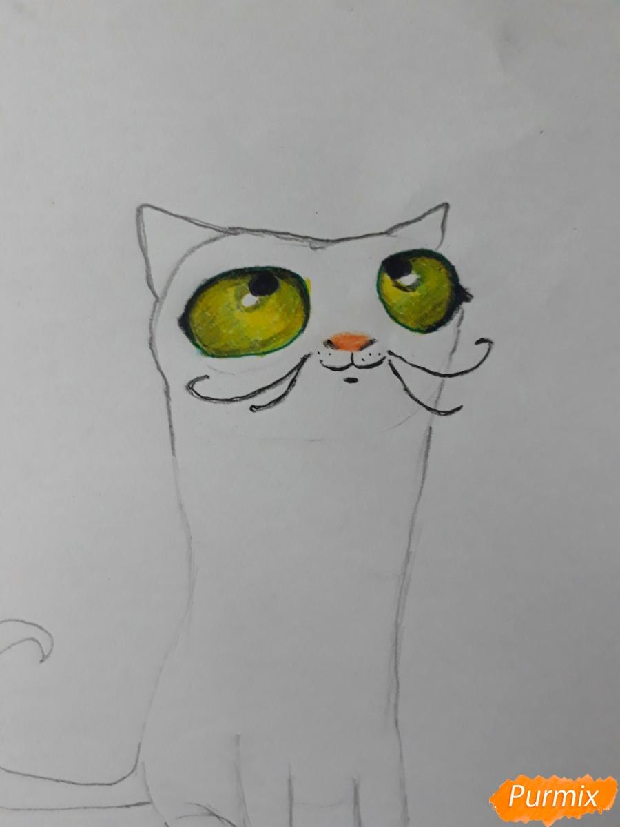 Рисуем мультяшного кота карандашами - шаг 5