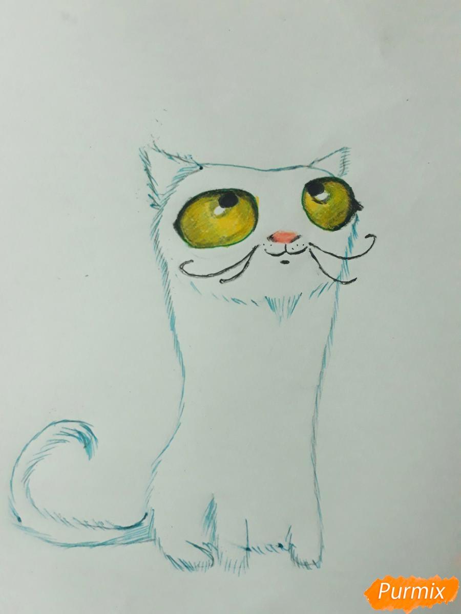 Рисуем мультяшного кота карандашами - шаг 6