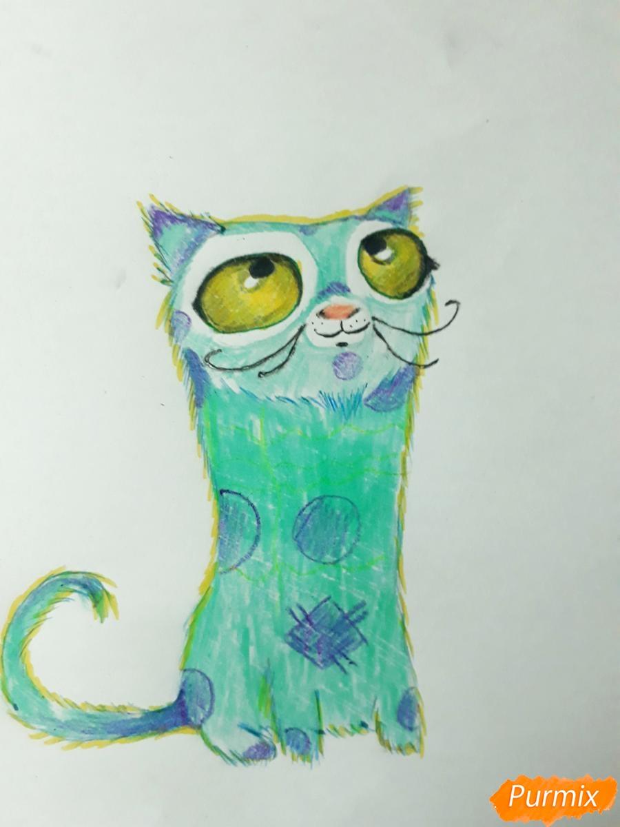 Рисуем мультяшного кота карандашами - шаг 7