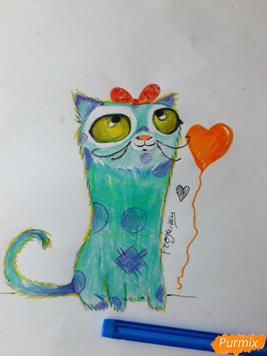 Как нарисовать мультяшного кота карандашами поэтапно
