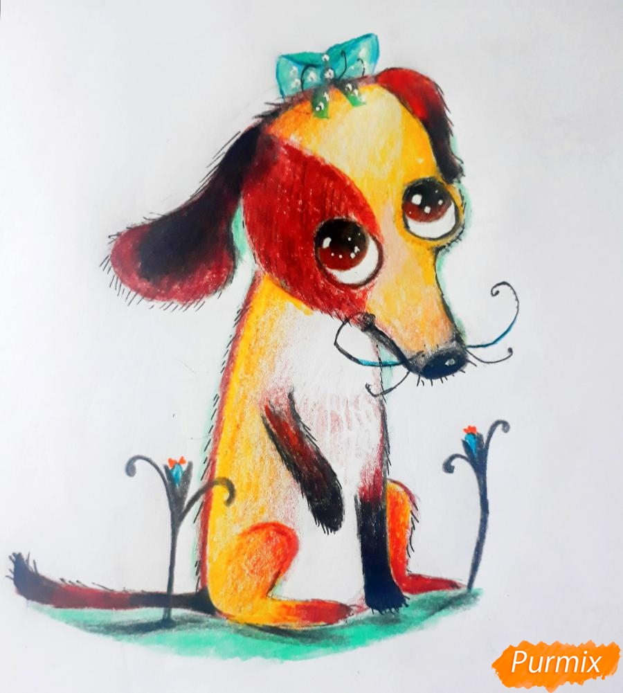 Рисуем мультяшную собаку карандашами - фото 10
