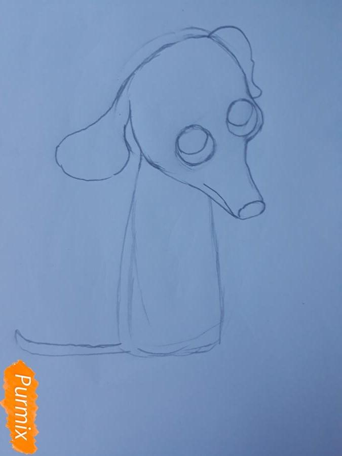 Рисуем мультяшную собаку карандашами - фото 4