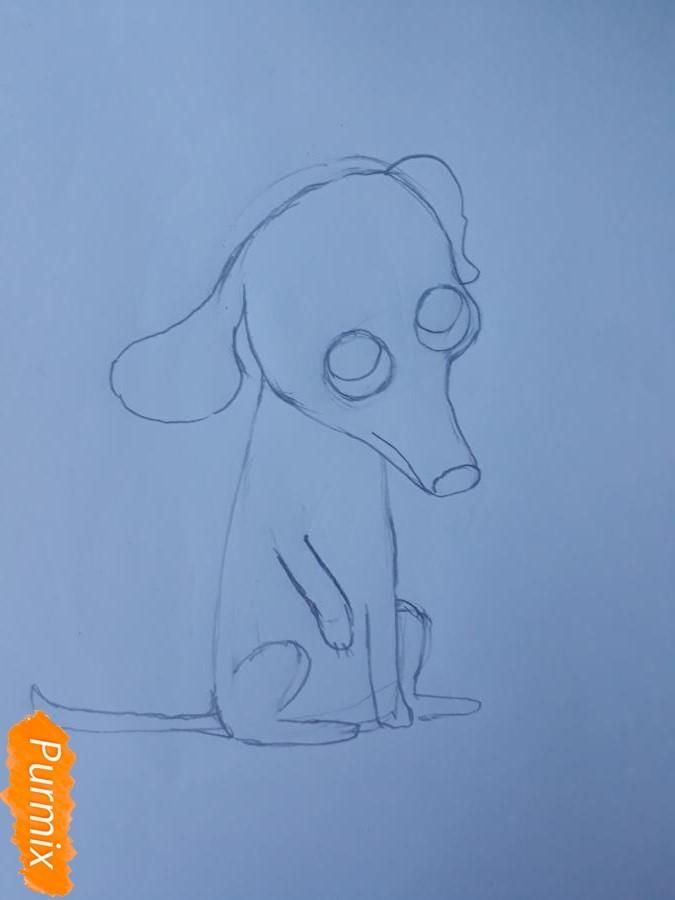 Рисуем мультяшную собаку карандашами - фото 5