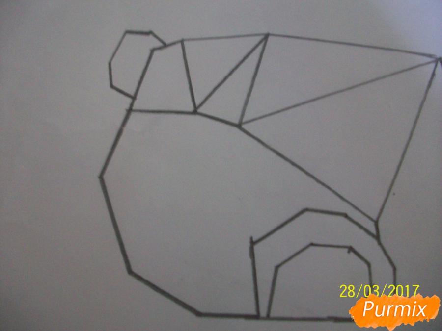 Рисуем панду из геометрических фигур ребенку - шаг 3