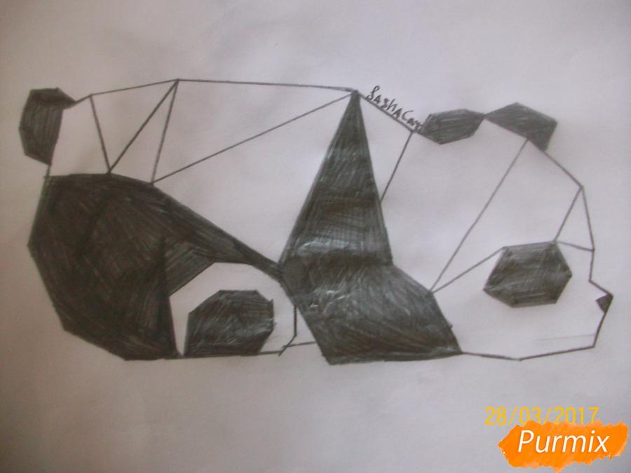 Как нарисовать панду из геометрических фигур ребенку карандашом поэтапно