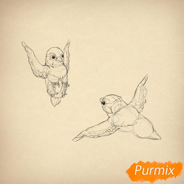 Рисуем воробья в полете - фото 6