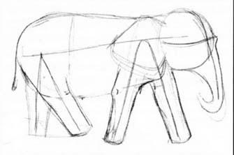 Рисуем слона в движении - шаг 1