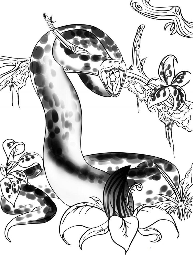 как рисовать змею карандашом: