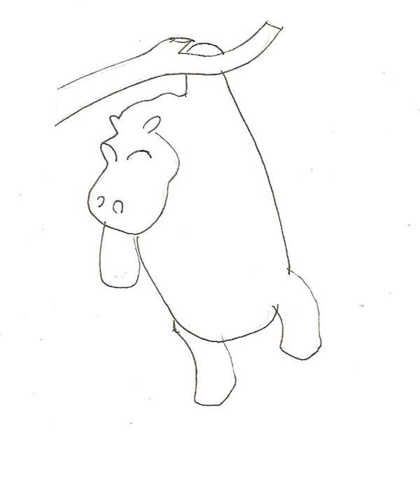 Рисуем бегемота висящего на дереве - шаг 3