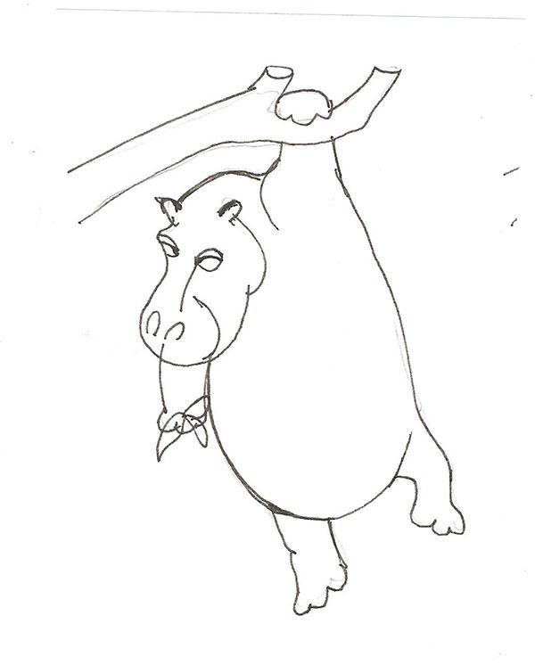 Рисуем бегемота висящего на дереве - шаг 4