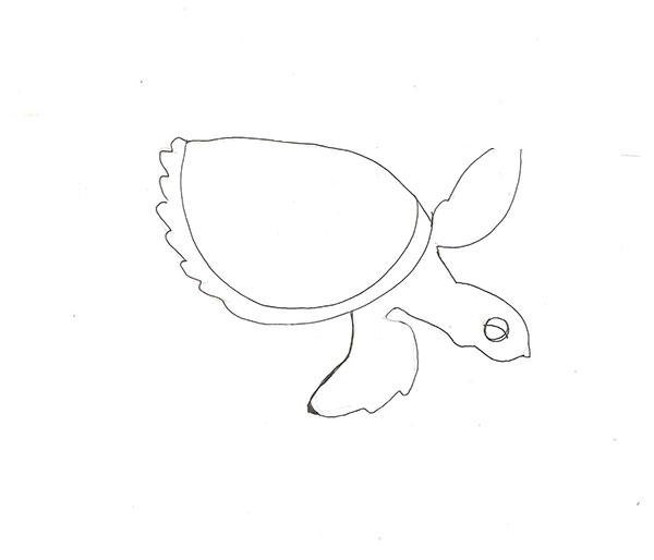 Рисуем морскую черепаху - шаг 3