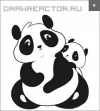 Как нарисовать двух панд поэтапно