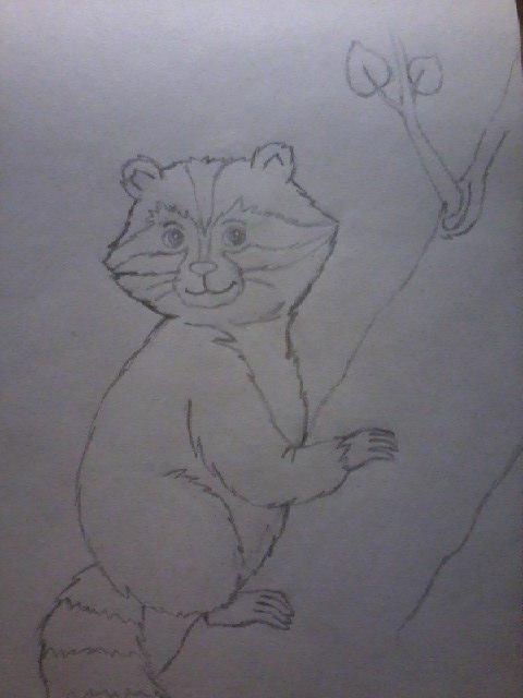 Рисуем енота на дереве - шаг 7