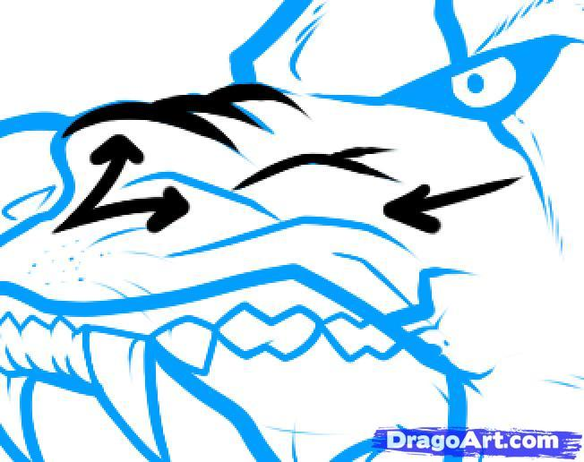 Рисуем голову злого волка