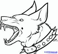 Как нарисовать голову злой собаки карандашом поэтапно