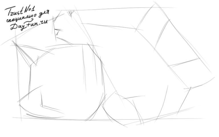 Как нарисовать играющегося Котенка карандашом поэтапно