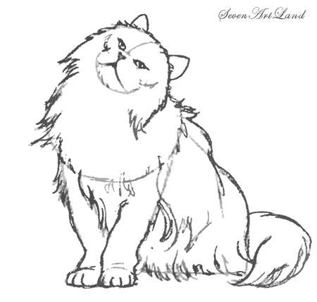 Как нарисовать потягивающегося Кота карандашом поэтапно.