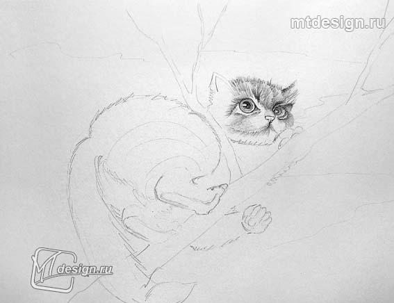Рисуем котенок на дереве - шаг 2