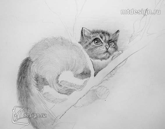Рисуем котенок на дереве - шаг 3