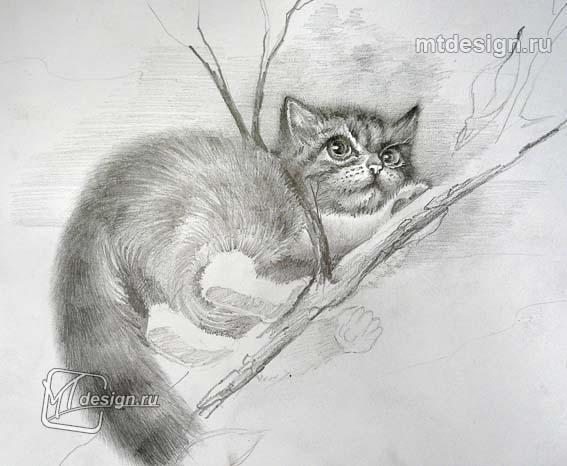 Рисуем котенок на дереве - шаг 4