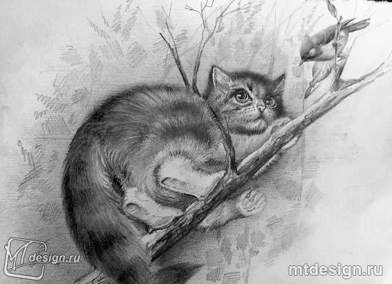 Рисуем котенок на дереве - шаг 5