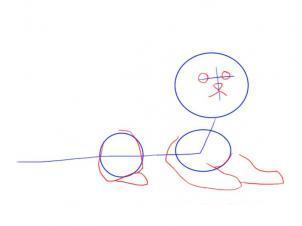Как просто нарисовать лежащего котенка - шаг 3