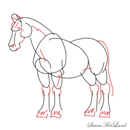 Рисуем Лошадь Клейдесдальской породы
