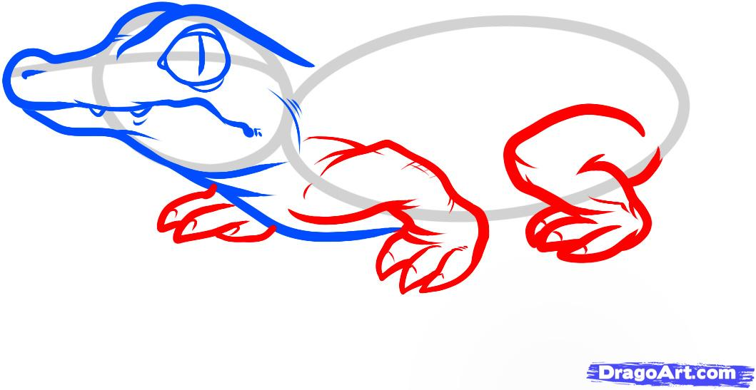 Рисуем маленького Крокодильчика - шаг 4