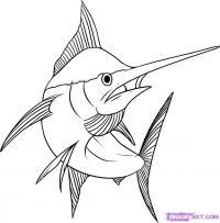 Меч-рыбу карандашом
