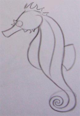 Рисуем морского конька - шаг 2