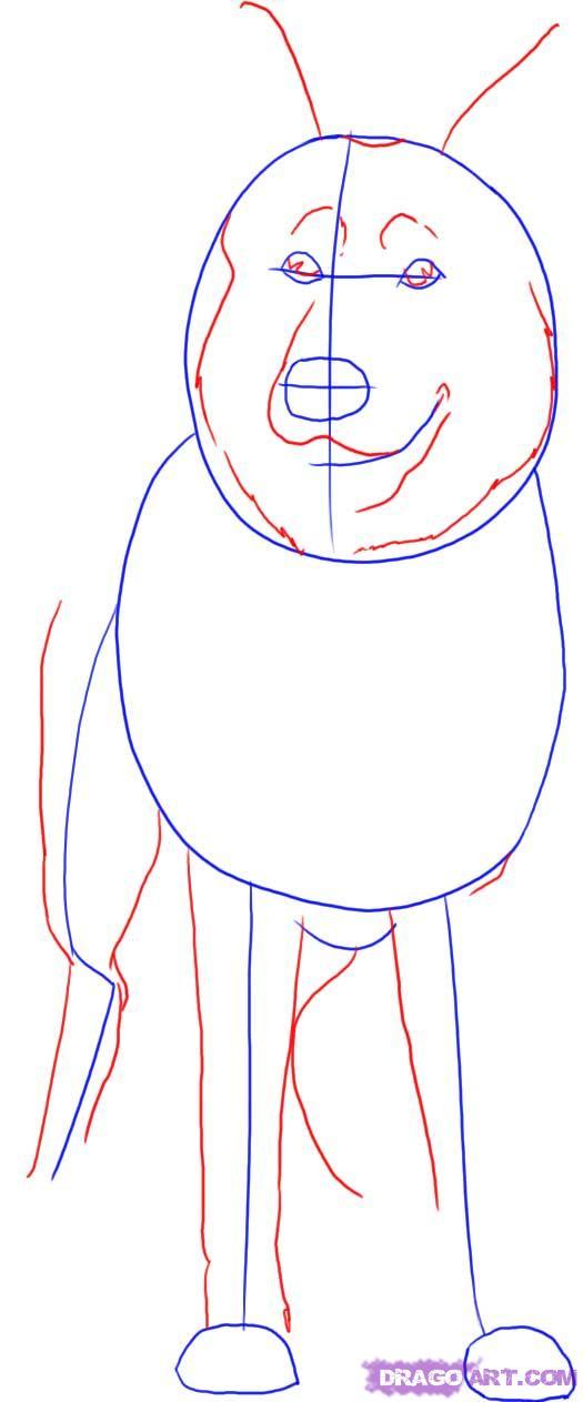 Рисуем овчарку   для начинающих - шаг 2